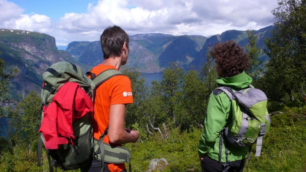 Au détour du chemin, la végétation découpe une percée sur le fjord.