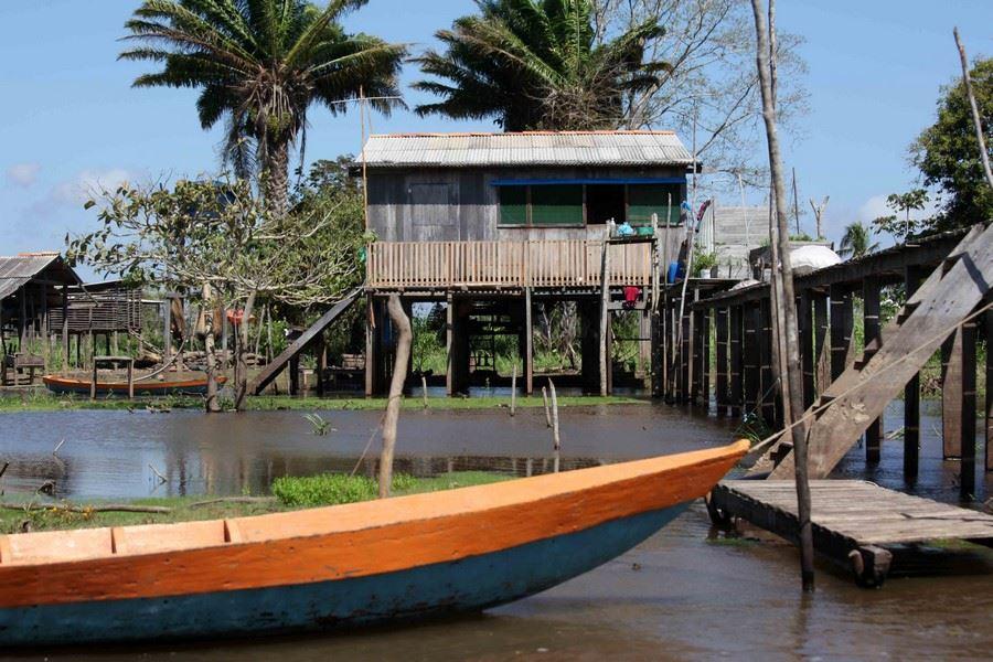 Les Caboclos, descendants de colons portugais, indiens ou noirs vivent sur les berges dans des maisons sur pilotis.