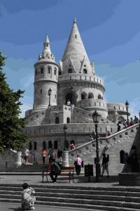 Vue du Bastion des pêcheurs, construit pour les célébrations du Millénaire de la Hongrie.