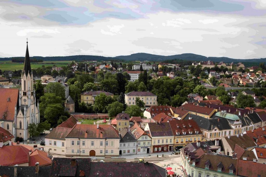 Vue sur la vieille ville de Melk.