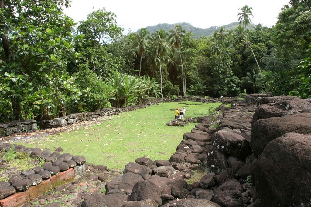 Tohua du centre Upeke sur l'île de Hiva Oa. Longue de plus de 50 m, la cour du tohua comprend à une de ses extrémités le pa'epa'e réservé aux prêtres et à l'autre la plate-forme de sacrifice : le tuu.