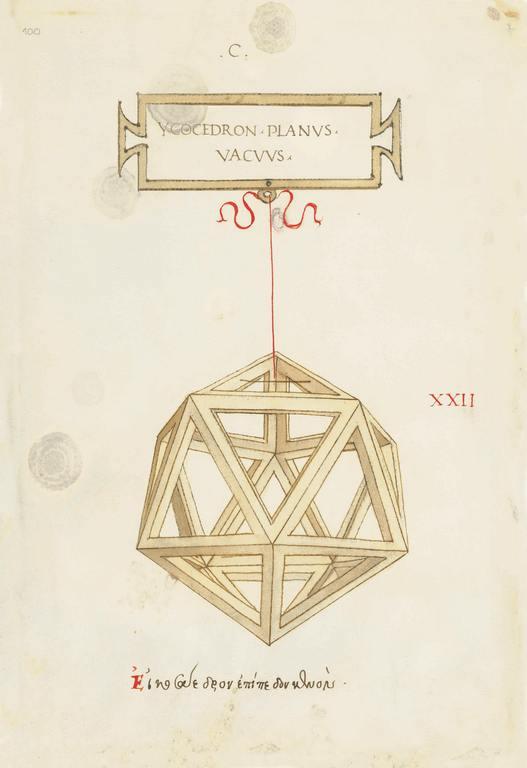 Dessin de Léonard de Vinci illustrant l'isocaèdre. Manuscrit du De divina proportione conservé à la Biblioteca Ambrosiana de Milan.