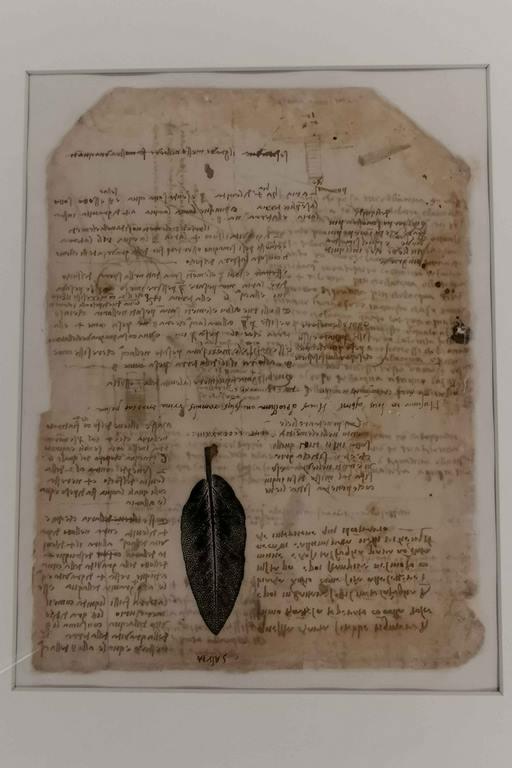 Page 197 verso du Codex Atlanticus qui explique comment imprimer une feuille. « Ce papier doit être brûlé avec de la fumée de bougie gâchée avec de la colle douce, puis enduire subtilement la feuille de plomb blanche avec de l'huile, ainsi que les lettres sont imprimées, puis imprimer de la manière habituelle. Et ainsi la feuille reste sombre dans les espaces vides et claire dans les reliefs. Ce qui arrive est ici le contraire. »