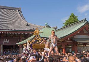 Festival Sanja Matsuri. Les temples portatifs mikoshi nécessitent la force de 40 hommes pour être soulevés. C'est aussi l'occasion pour les Yakuzas de montrer fièrement leurs tatouages.