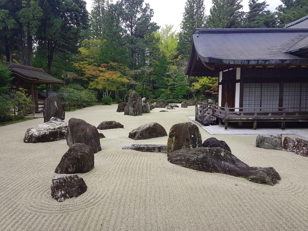 Jardin zen (jardin sec) du temple Kongobu Ji à Koyasan