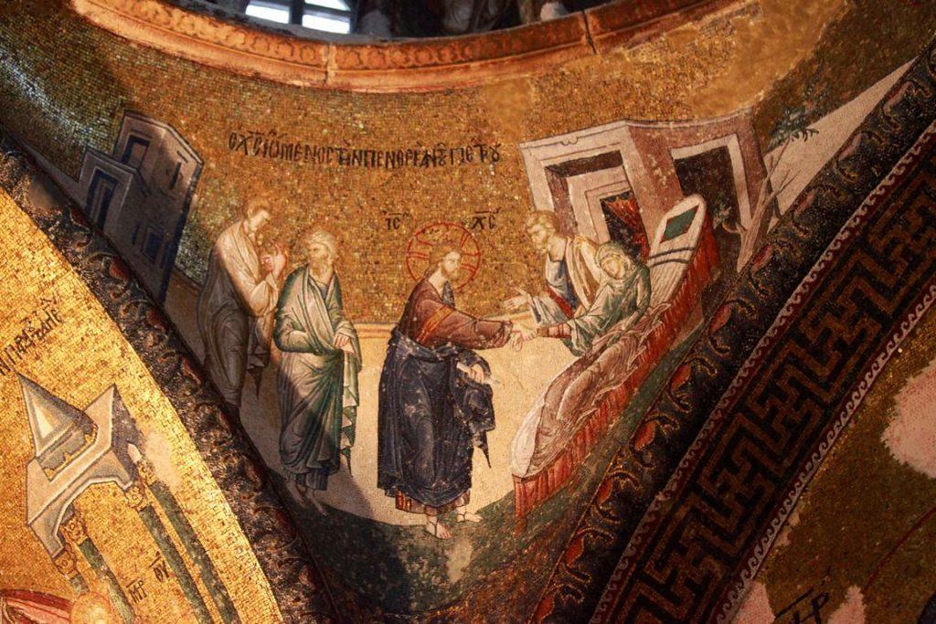 Sur le pendentif nord-est de la coupole du narthex intérieur, Jésus guérit la belle-mère de Pierre.