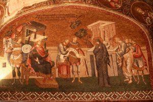 Le recensement devant le gouverneur Quirinus assis sur son trône.