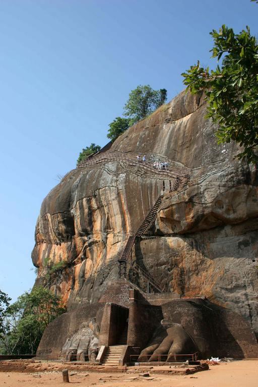 Sri Lanka. Sigiriya. Pour atteindre la citadelle royale, il fallait passer entre les pattes d'un énorme lion de pierre dont il ne reste aujourd'hui que les griffes.