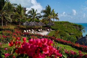 Zanzibar. Hôtel Zawadi. Le visiteur accède aux villas en empruntant un chemin qui serpente dans un magnifique jardin fleuri de bougainvillées.