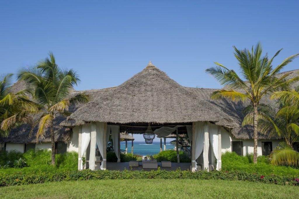 Zanzibar. Réception de l'hôtel Zawadi.
