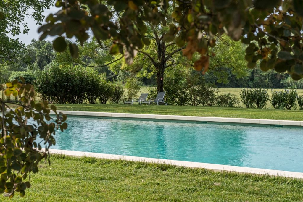 Carpentras. Château Martinay. Un grand bassin permet de nager dans un environnement de pure nature.
