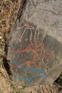 Portugal. Parc archéologique de la vallée du Côa. Roche n° 4 de Penascosa. Probable scène d'accouplement dans laquelle sont représentés deux équidés. Le mâle est représenté dans trois positions d'un mouvement descendant de la tête (en rouge et orange sur le croquis). Croquis © L. Luis, Parque Arqueológico do Vale do Côa.